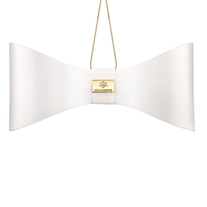 Crystamas White Lambskin Leather Bow Ornament with Gold Tone Studs