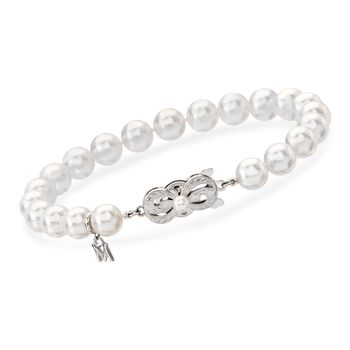 """Mikimoto 7x6.5mm A1 Akoya Pearl Bracelet in 18kt White Gold. 7"""", , default"""