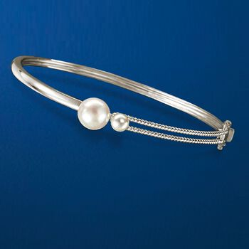 5-9.5mm Cultured Pearl Bangle Bracelet in Sterling Silver, , default