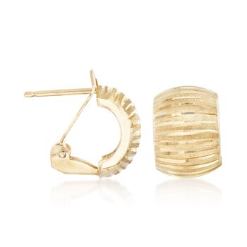 Italian 18kt Yellow Gold Diamond-Cut and Satin-Finished Hoop Earrings, , default