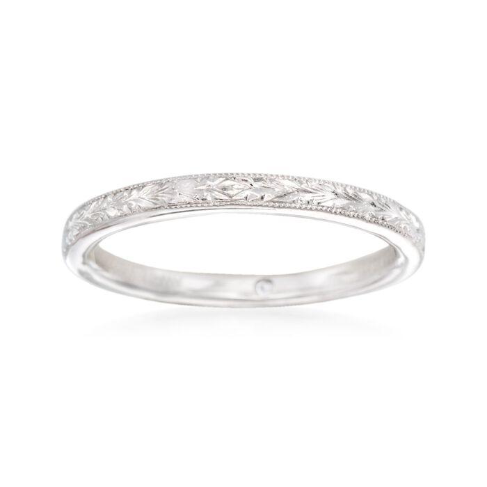 Gabriel Designs 14kt White Gold Engraved Wedding Ring. Size 8