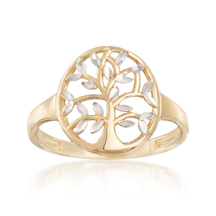 14kt Two-Tone Gold Cut-Out Tree of Life Ring, , default