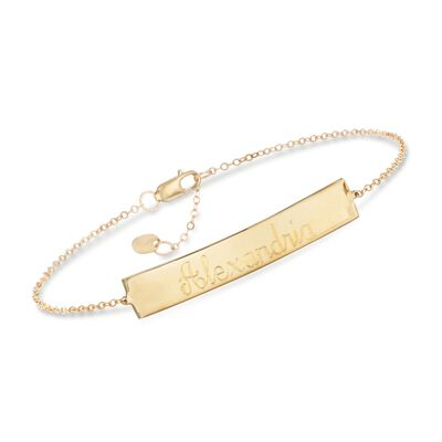 14kt Yellow Gold Name Bar Bracelet, , default