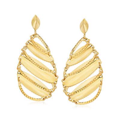 Italian 14kt Yellow Gold Cut-Out Teardrop Earrings, , default