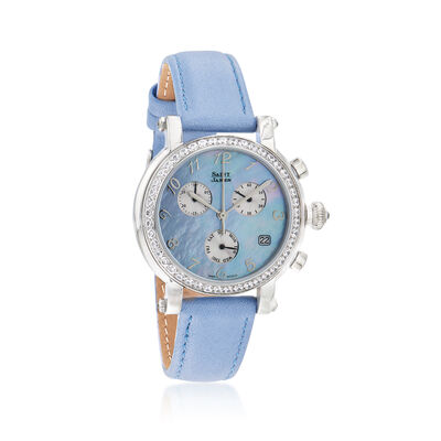Saint James Women's 36mm Blue Mother-Of-Pearl Watch in Stainless Steel