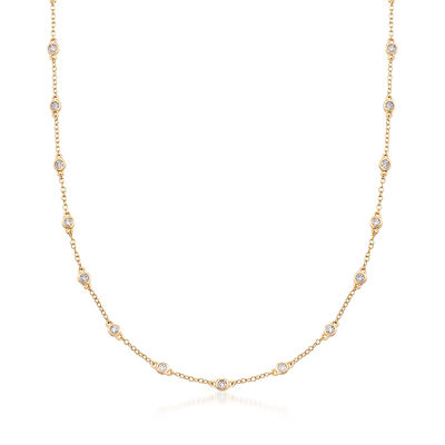 1.00 ct. t.w. Diamond Bezel-Set Station Necklace in 18kt Yellow Gold, , default