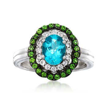 1.00 Carat Teal Apatite Ring With Chrome Diopsides and White Topaz in Sterling Silver, , default