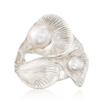 6-8.5mm Cultured Pearl Floral Statement Ring in Sterling Silver, , default