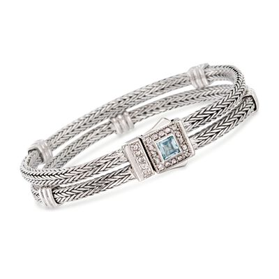 "Phillip Gavriel ""Woven"" .80 Carat Blue Topaz and .40 ct. t.w. White Sapphire Station Link Bracelet in Sterling Silver, , default"