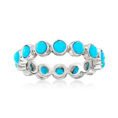 Turquoise Eternity Band in Sterling Silver