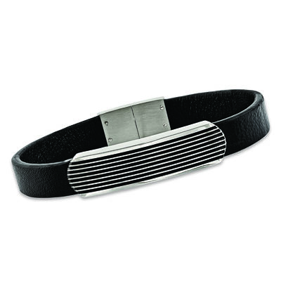 Men's Stainless Steel Bar Bracelet with Black Enamel and Leather, , default