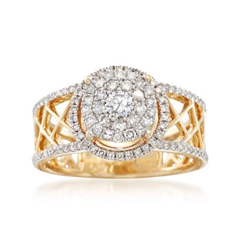 .71 ct. t.w. Diamond Ring With Crisscross Shank in 14kt Yellow Gold, , default