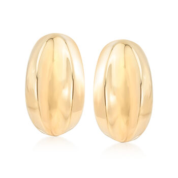 Italian 14kt Yellow Gold Elongated Curve Clip-On Earrings, , default
