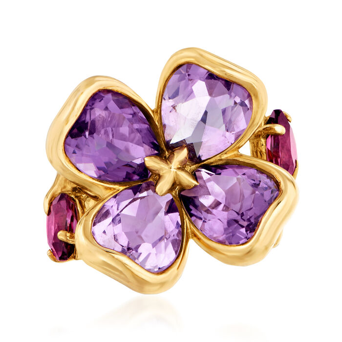 C. 1990 Vintage Chanel 5.80 ct. t.w. Amethyst and 1.30 ct. t.w. Pink Tourmaline Flower Ring in 18kt Yellow Gold. Size 5.5