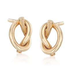 Italian 14kt Yellow Gold Pretzel Knot Earrings, , default