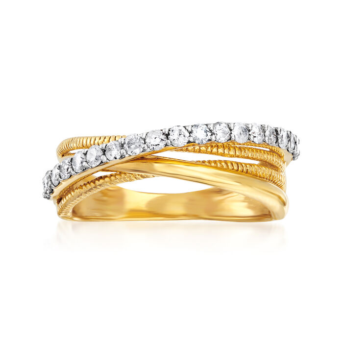 .50 ct. t.w. Diamond Crisscross Ring in 18kt Gold Over Sterling