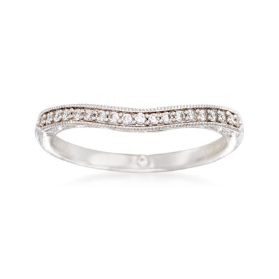 Gabriel Designs .10 ct. t.w. Diamond Curved Wedding Ring in 14kt White Gold, , default
