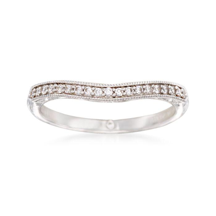 Gabriel Designs .10 ct. t.w. Diamond Curved Wedding Ring in 14kt White Gold, , default
