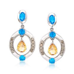 1.60 ct. t.w. Citrine and 1.80 ct. t.w. Apatite Earrings With .37 ct. t.w. Diamonds in Sterling Silver, , default