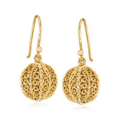 18kt Gold Over Sterling Openwork Bead Drop Earrings