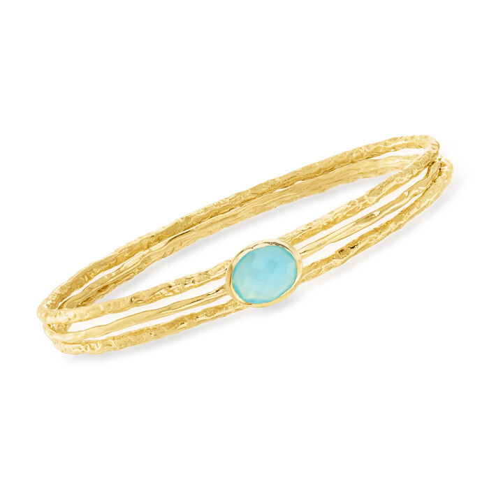 Blue Onyx Jewelry Set: Three Bangle Bracelets in 18kt Gold Over Sterling