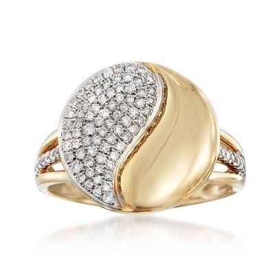 .40 ct. t.w. Diamond Yin-Yang Ring in 14kt Yellow Gold, , default