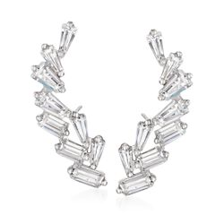 1.34 ct. t.w. Baguette CZ Ear Crawlers in Sterling Silver, , default