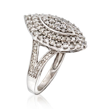 C. 1980 Vintage 1.20 ct. t.w. Diamond Cluster Ring in 14kt White Gold. Size 6, , default