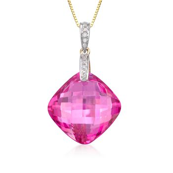 """13.50 Carat Pink Topaz Necklace With Diamonds in 14kt Yellow Gold. 18"""", , default"""