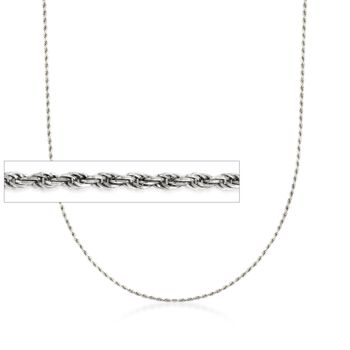 Italian 1.5mm Sterling Silver Adjustable Rope Chain Necklace , , default