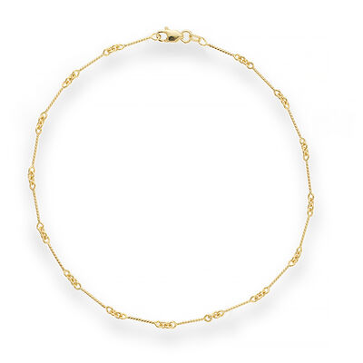 14kt Yellow Gold Twist Bar Cable Chain Anklet, , default