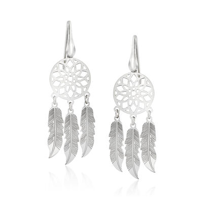 Italian Sterling Silver Dreamcatcher Drop Earrings