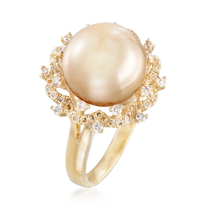 12-12.5mm Golden Cultured South Sea Pearl and Yellow and White Diamond Ring in 18kt Yellow Gold