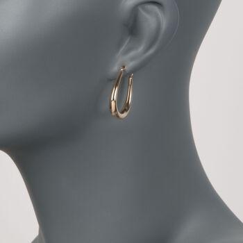 "14kt Yellow Gold Graduated Hoop Earrings. 1 1/8"", , default"