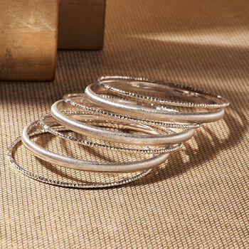 Italian Sterling Silver Jewelry Set: Seven Bangle Bracelets