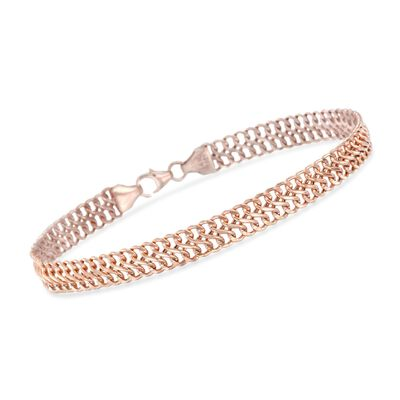 Italian 14kt Rose Gold Two-Row Cable Bracelet, , default