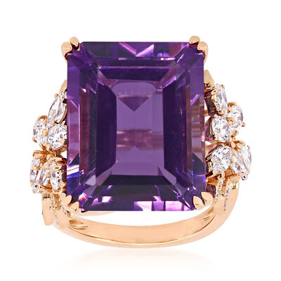 20.00 Carat Amethyst and 1.75 ct. t.w. Diamond Ring in 14kt Rose Gold, , default