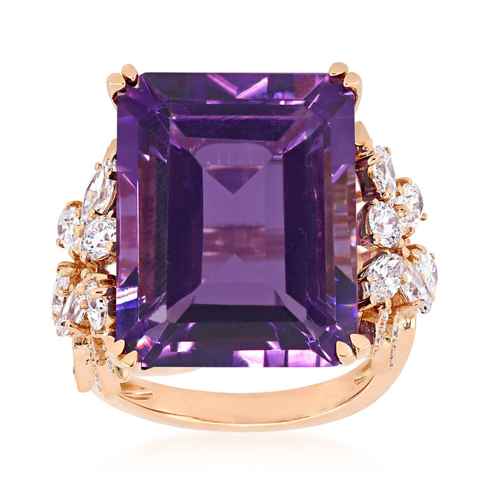 20.00 Carat Amethyst and 1.75 ct. t.w. Diamond Ring in 14kt Rose Gold. Size 7, , default