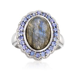 Labradorite and .70 ct. t.w. Tanzanite Ring in Sterling Silver, , default