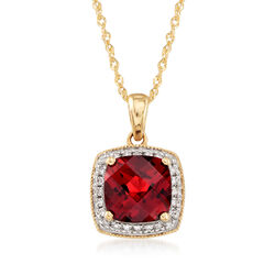 1.80 Carat Garnet Pendant Necklace With Diamond Accents in 14kt Yellow Gold, , default