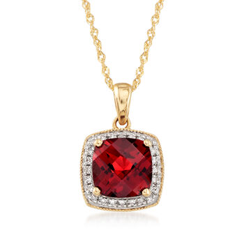 1.90 Carat Garnet Pendant Necklace With Diamond Accents in 14kt Yellow Gold, , default