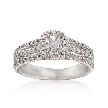 Henri Daussi .89 ct. t.w. Diamond Engagement Ring in 18kt White Gold, , default