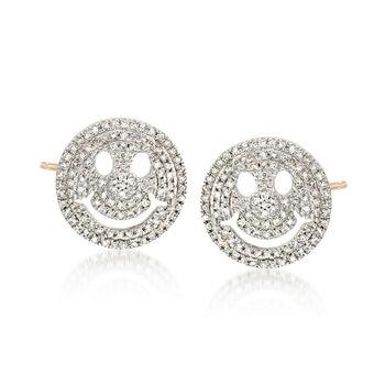 .29 ct. t.w. Diamond Smiley Face Emoji Earrings in 14kt Yellow Gold , , default