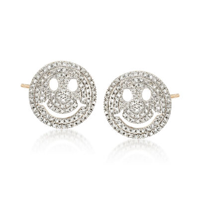 .29 ct. t.w. Diamond Smiley Face Emoji Earrings in 14kt Yellow Gold, , default