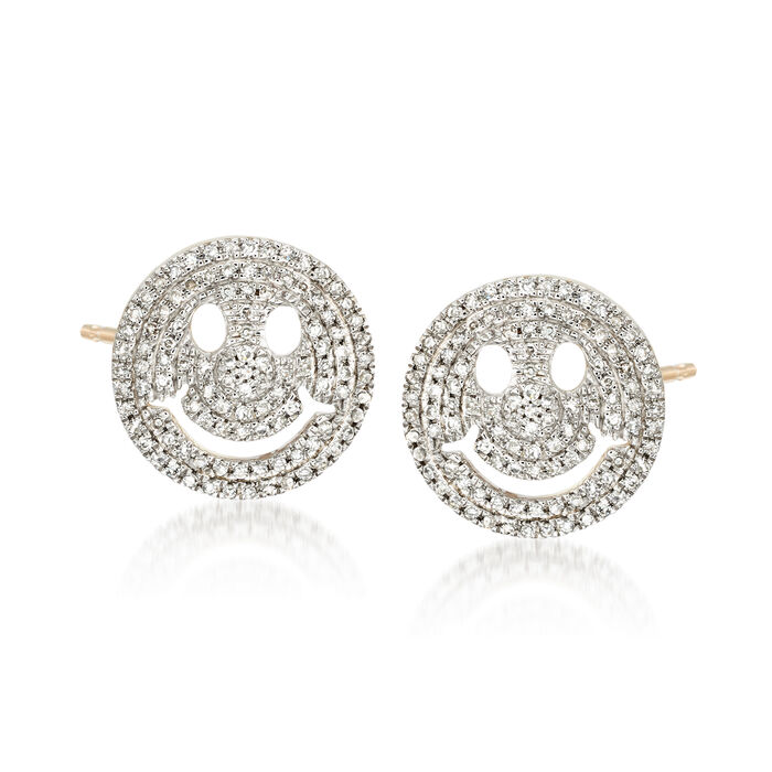 .29 ct. t.w. Diamond Smiley Face Emoji Earrings in 14kt Yellow Gold , , default