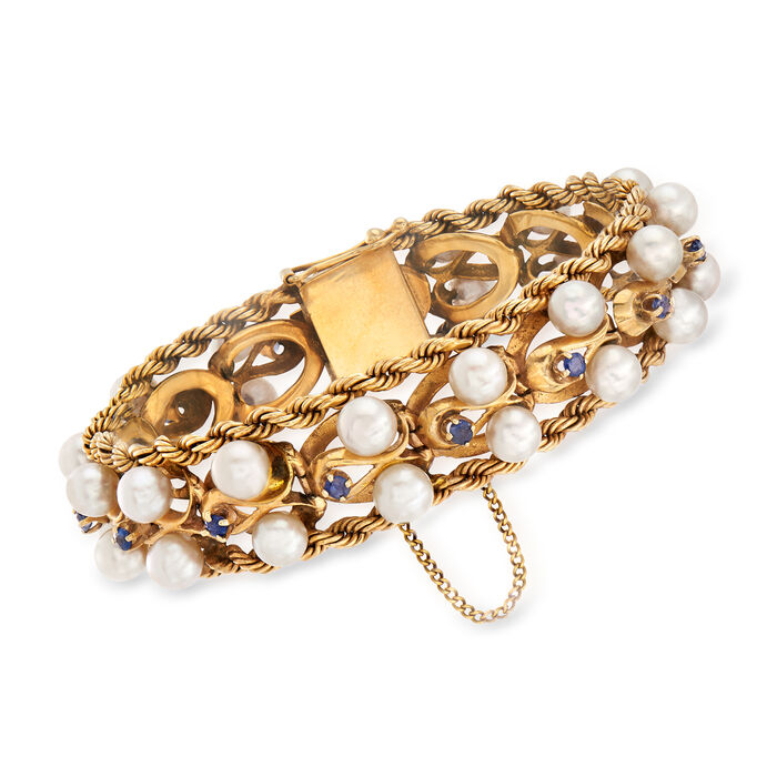 "C. 1970 Vintage Cultured Pearl and 1.20 ct. t.w. Sapphire Rope Edge Bracelet in 14kt Yellow Gold. 7"", , default"
