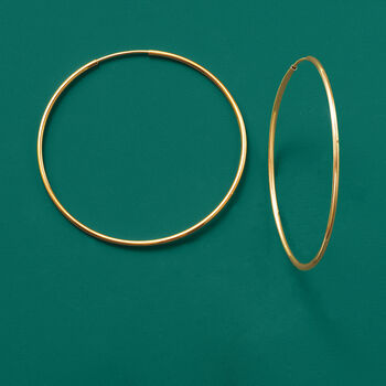 "1.25mm 14kt Yellow Gold Endless Hoop Earrings. 1 5/8"", , default"