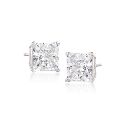 .75 ct. t.w. Princess-Cut Diamond Stud Earrings in 14kt White Gold, , default