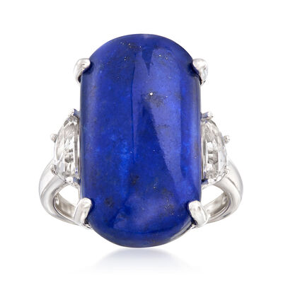 Lapis and .70 ct. t.w. White Topaz Ring in Sterling Silver, , default
