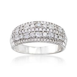 .90 ct. t.w. Round and Baguette Diamond Ring in 14kt White Gold, , default